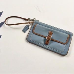 COACH Blue Leather Buckle Wristlet Zip Top Clutch